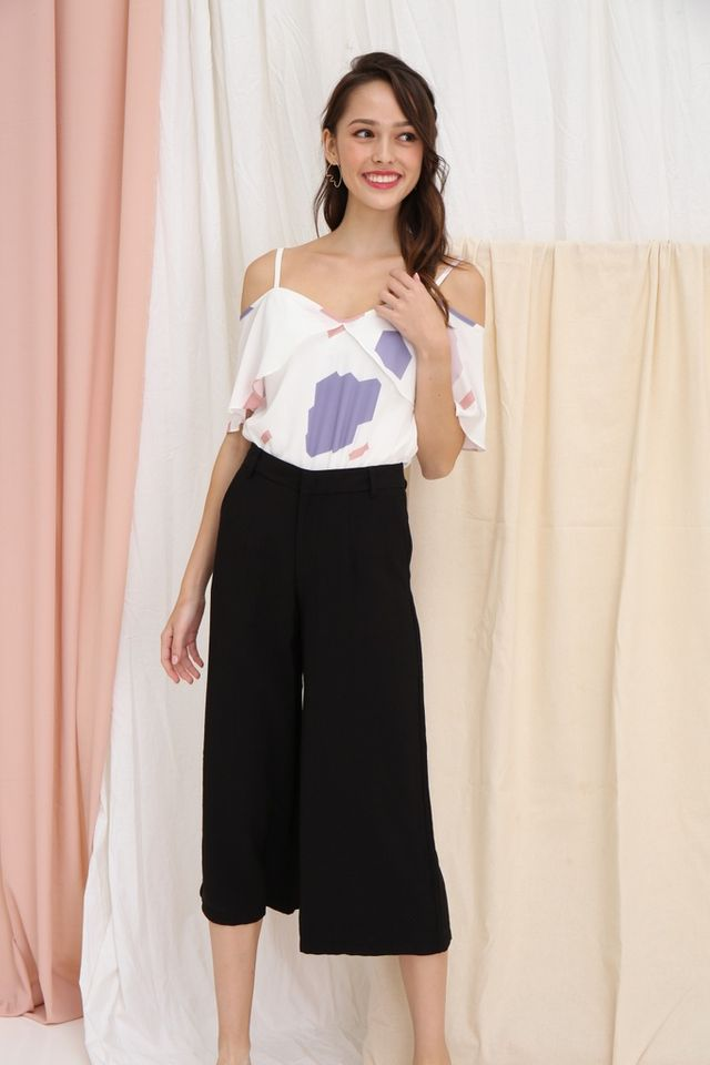 Dalinda Wide Leg Culottes in Black
