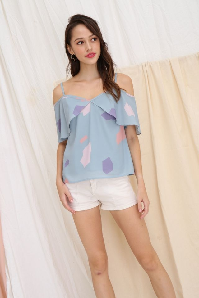 Nadia Printed Cold-Shoulder Top in Seafoam