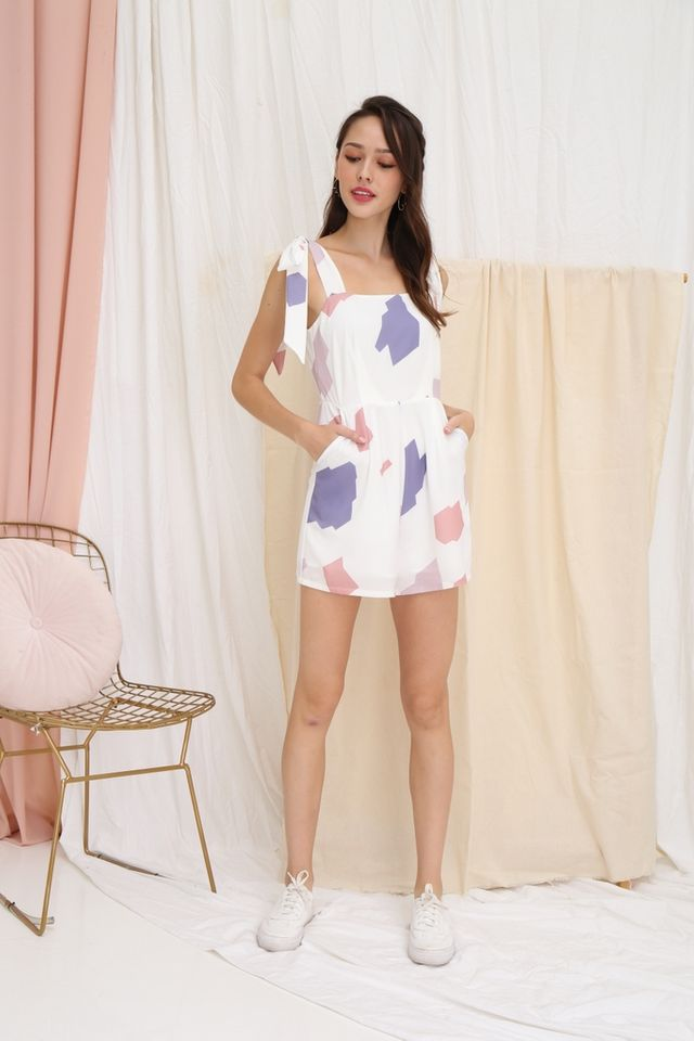 Hannah Printed Ribbon Romper in White