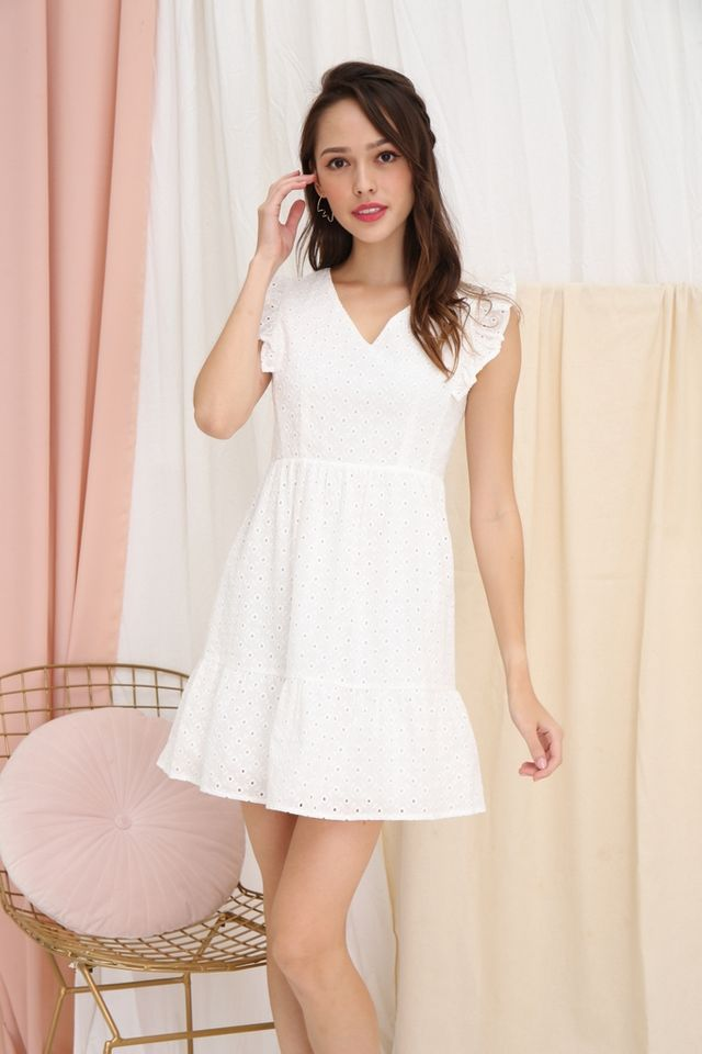 Aubrey Eyelet Babydoll Dress in White