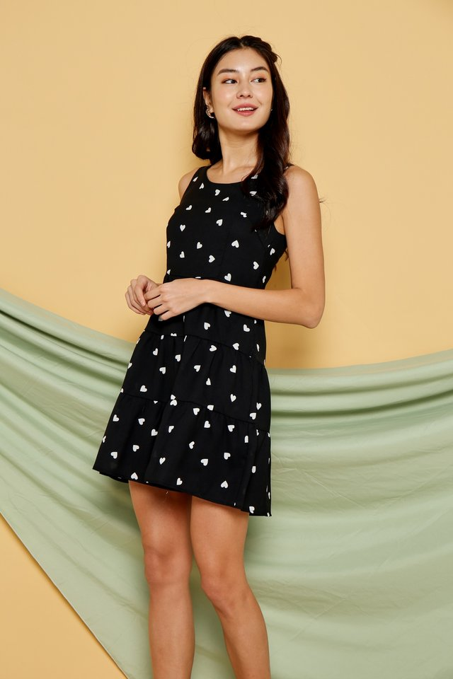 Alina Heartshaped Babydoll Dress in Black