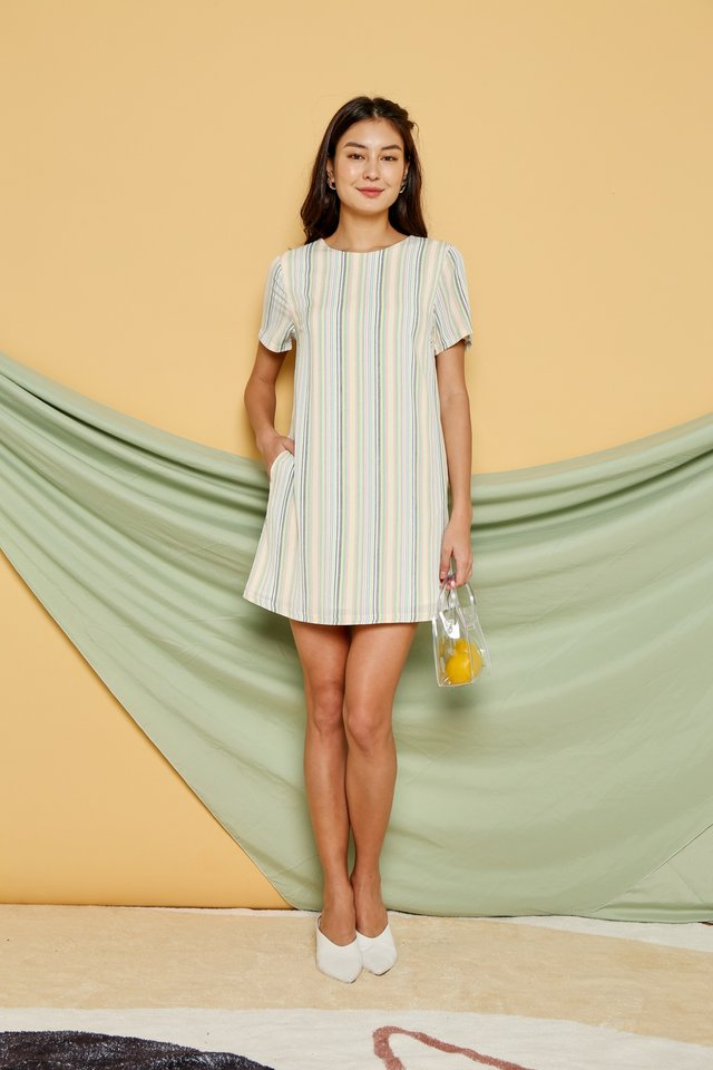 *Online Exclusive* Kate Multi Striped Shift Dress in Yellow