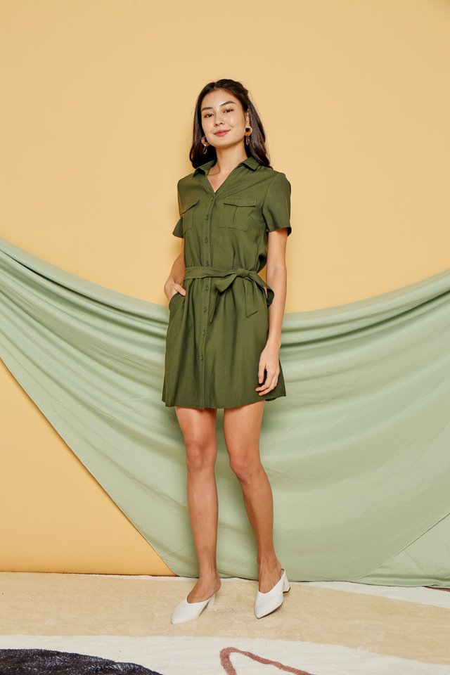 *BACKORDER* Noemie Button Shirt Dress in Olive