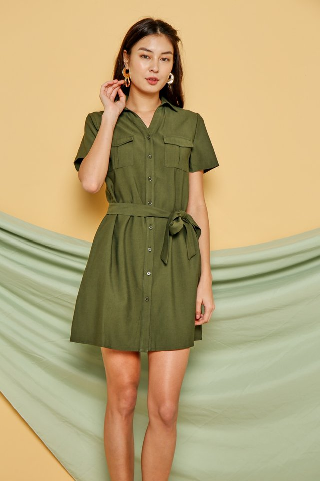 Noemie Button Shirt Dress in Olive