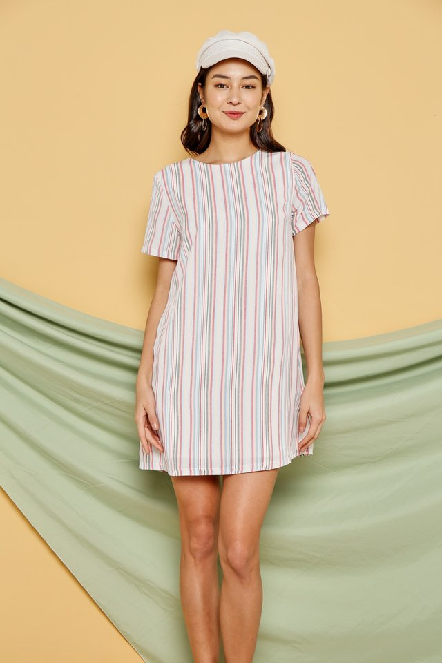* Online Exclusive* Kate Multi Striped Shift Dress in Red