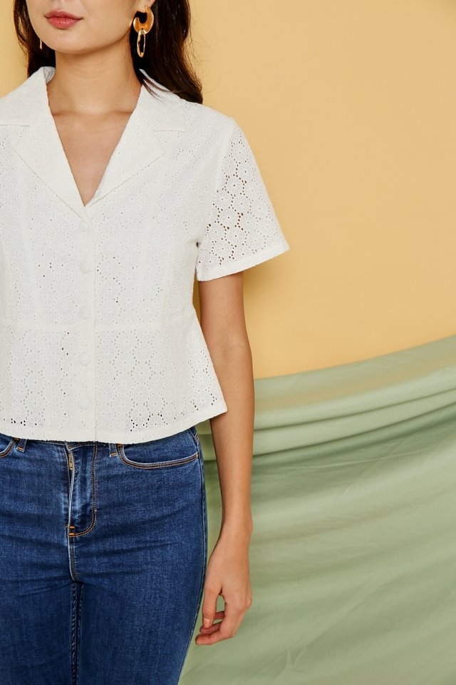 Celine Collar Button Eyelet Top in White