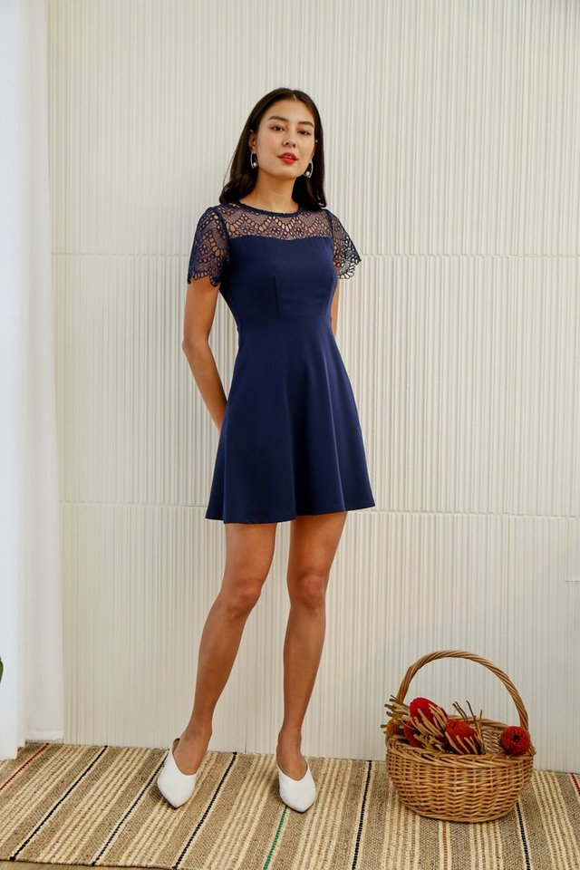 Giana Crochet Skater Dress in Navy