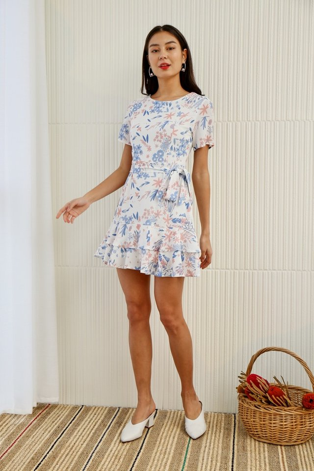 Ariel Floral Tiered Ruffled Skater Dress in White