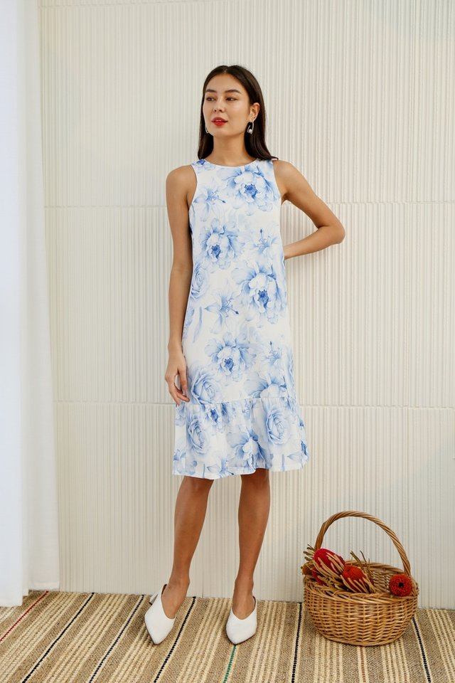 Avah Romantic Floral Dropwaist Midi Dress in Blue