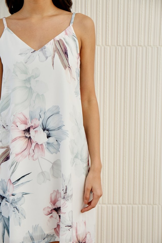 Callie Floral Camisole Dress in White