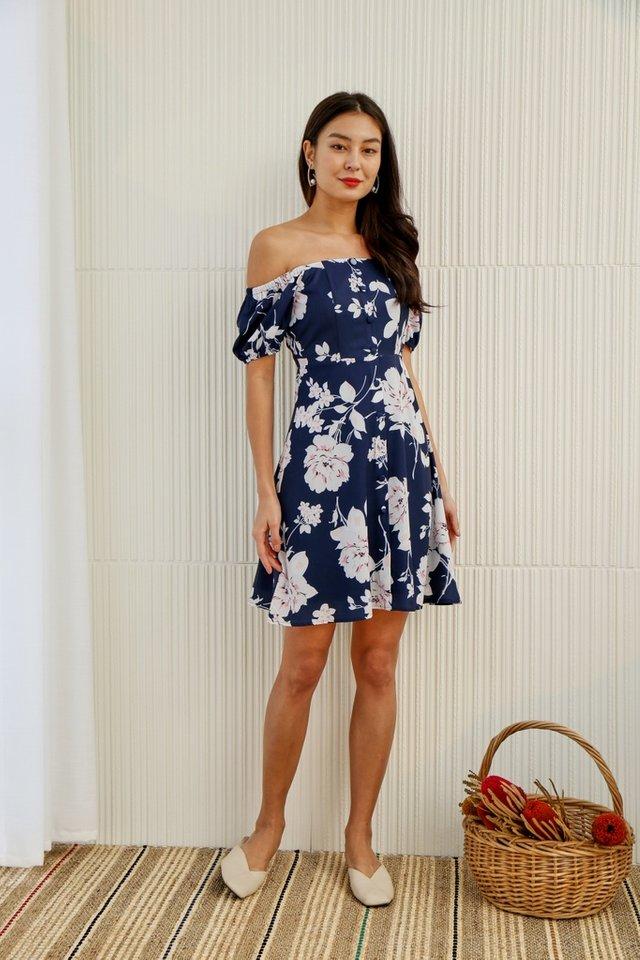 Ellea Floral 2-Way Button Dress in Navy