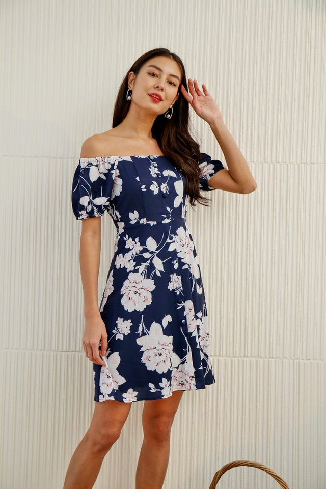 Ellea Floral 2-Way Button Dress in Navy