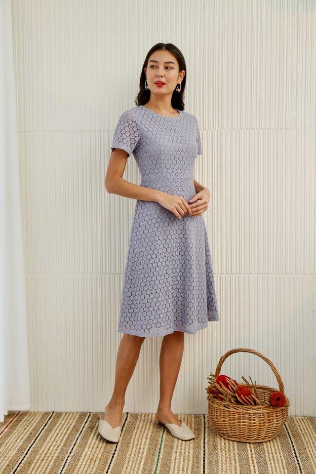 Aarya Lace Midi Dress in Lilac Grey
