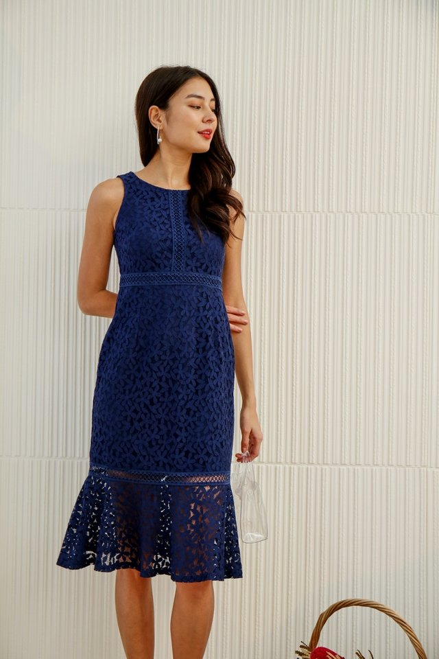 *Online Exclusive* Averi Eyelet Trim Lace Mermaid Dress in Navy