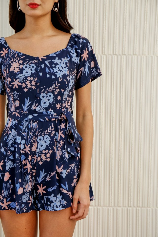 Selena Floral 2-Way Button Romper in Navy