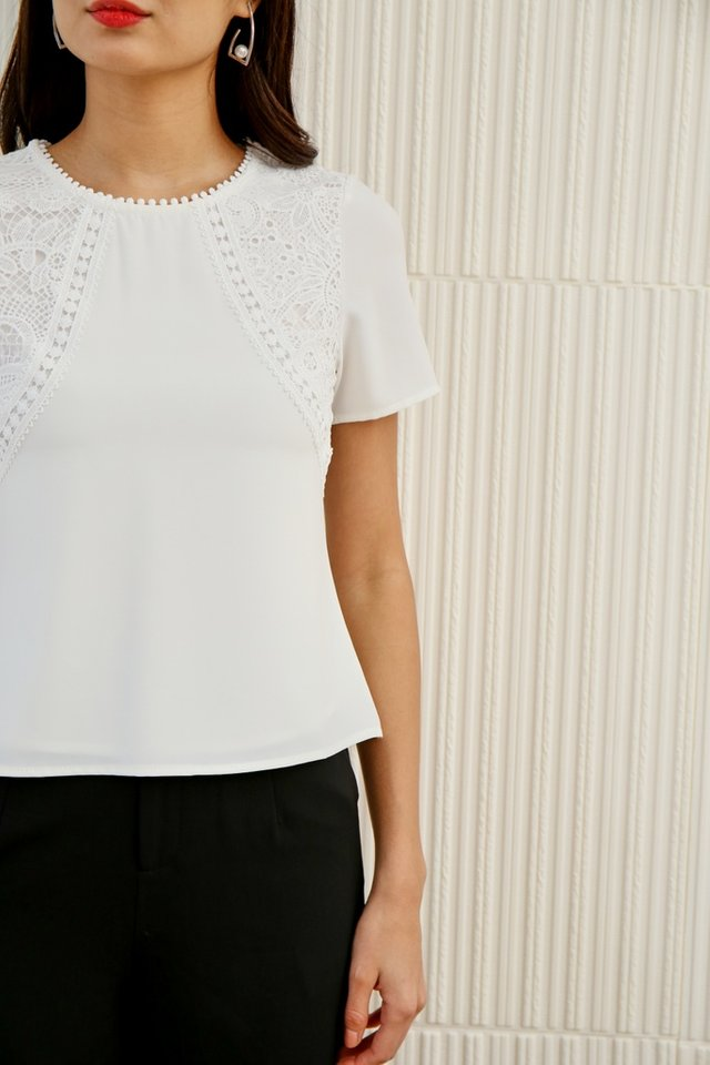 *Online Exclusive* Larissa Crochet Sleeved Top in White