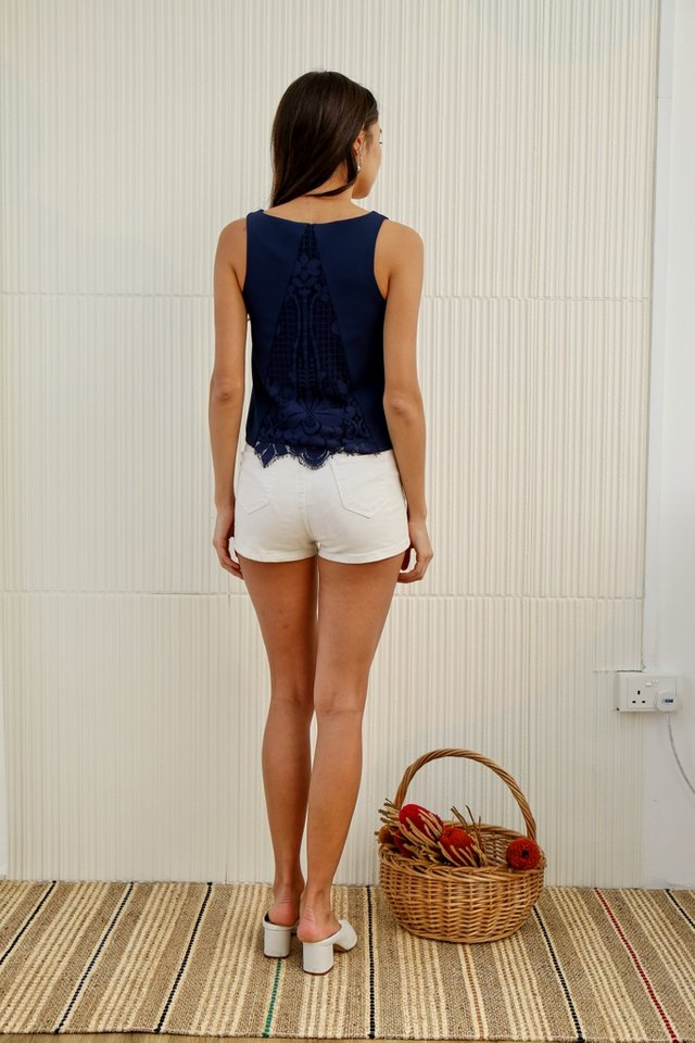 *Online Exclusive* Nina Lace Insert V-neck Top in Navy
