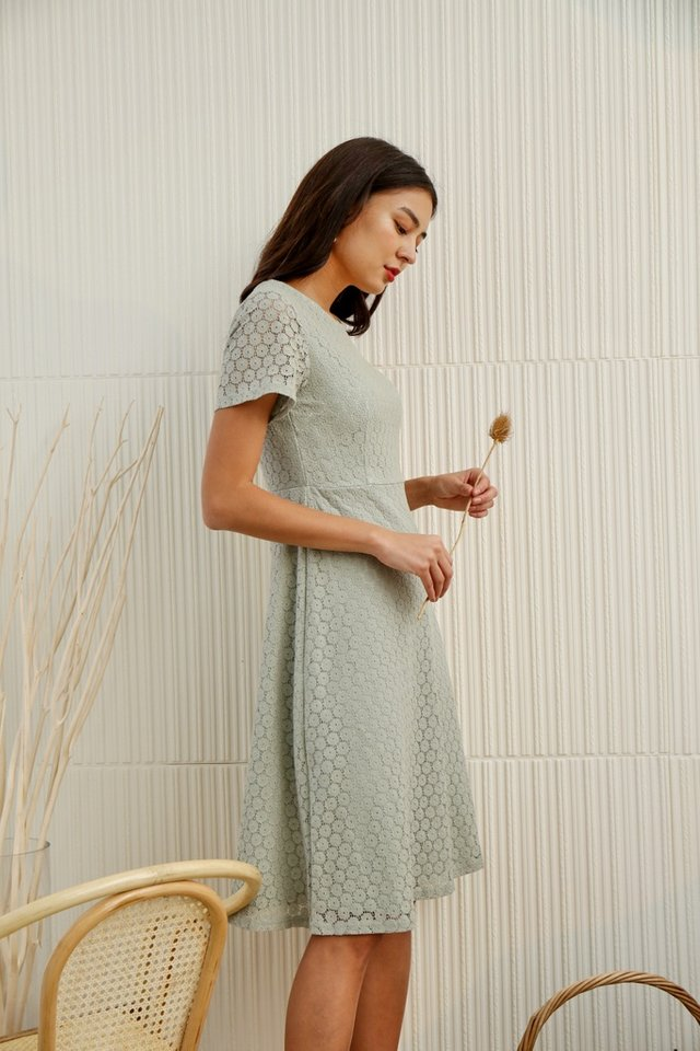Aarya Crochet Midi Dress in Sage