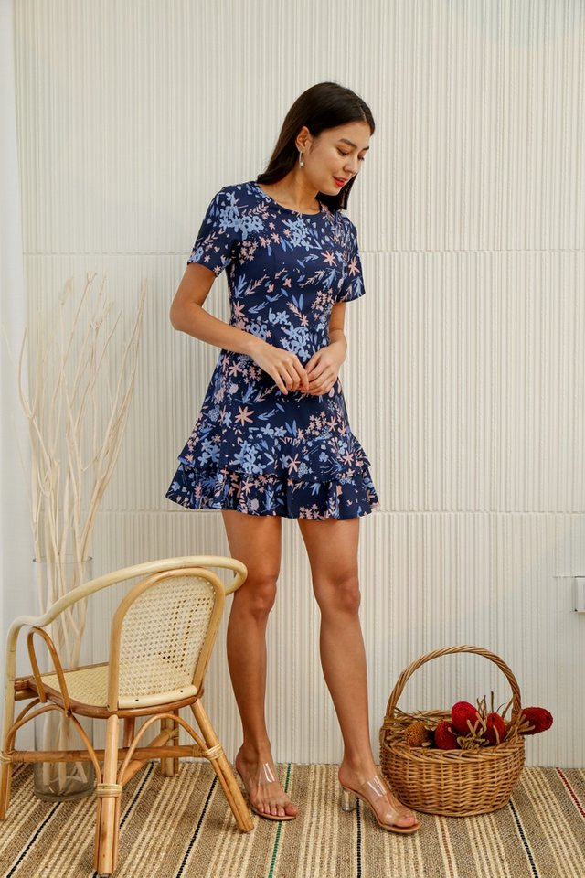Ariel Floral Tiered Ruffled Skater Dress in Navy