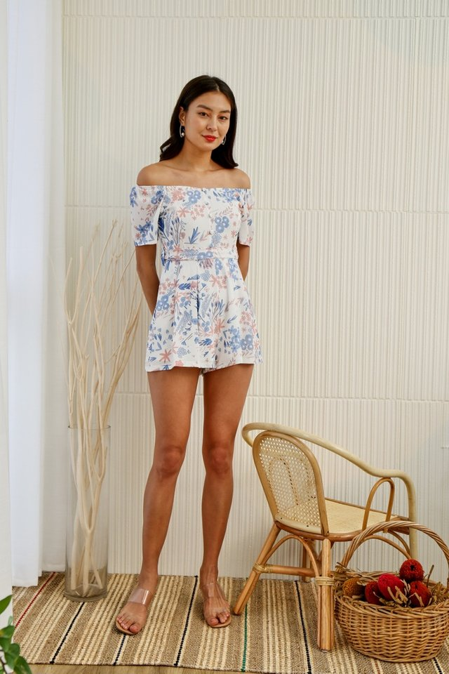 Selena Floral 2-Way Button Romper in White