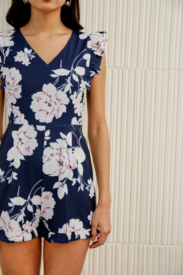 Kalina Floral Ruffles Sleeved Romper in Navy