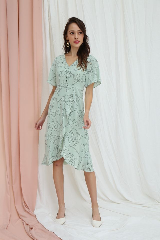 Zelie Abstract Petal Hem Midi Dress in Mint
