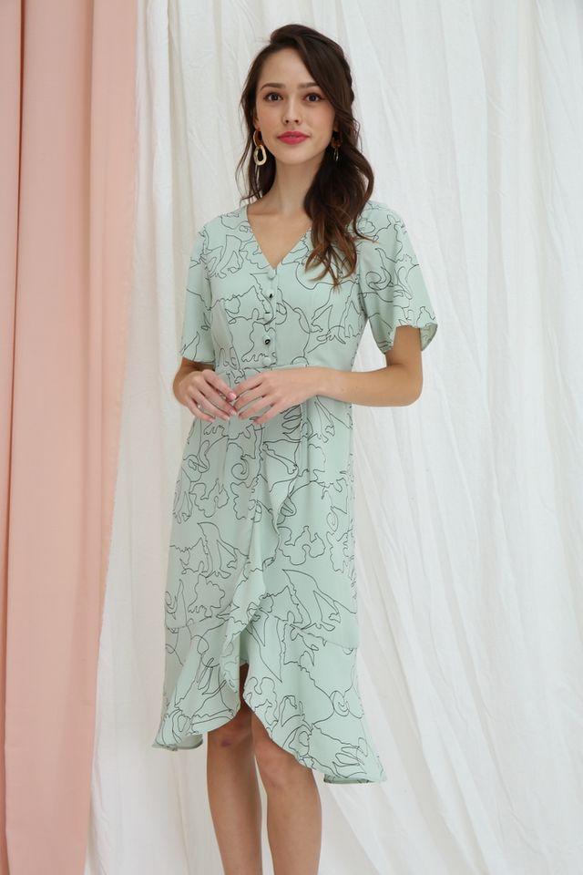 Zelie Abstract Petal Hem Midi Dress in Mint