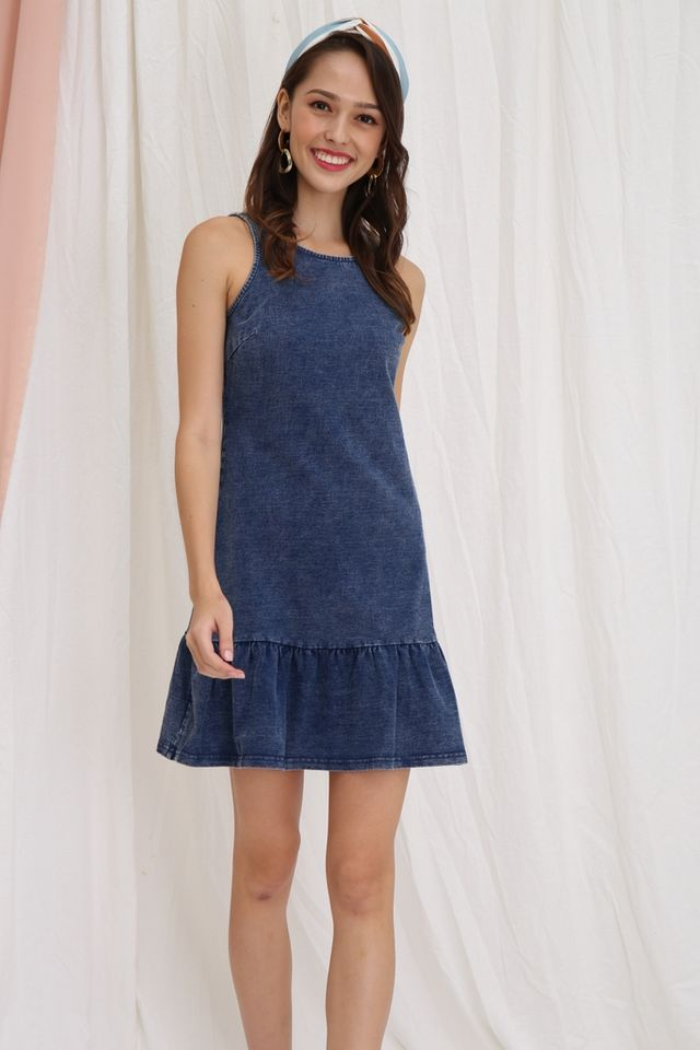 Adele Denim Dropwaist Dress in Mid-Wash