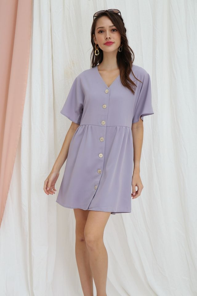 Sheree Button Babydoll Dress in Lilac