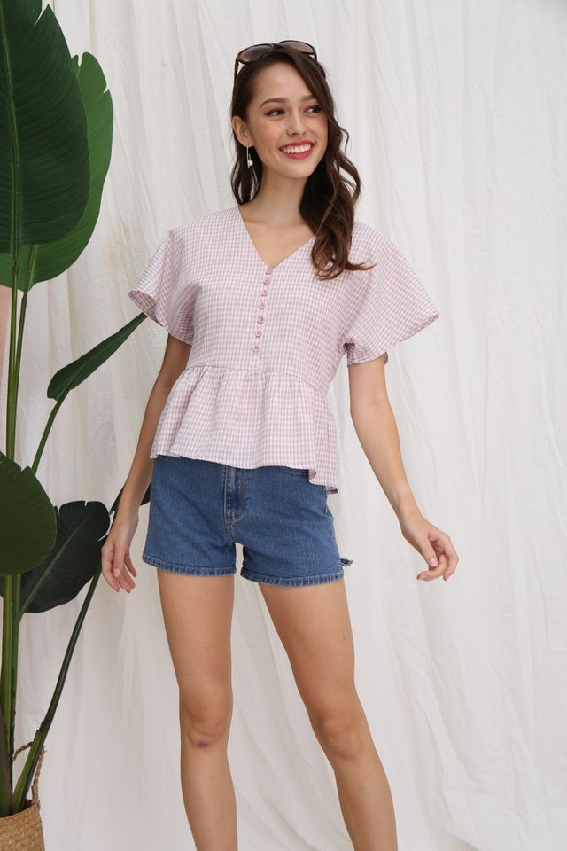 Assia Checkered Babydoll Top in Pink