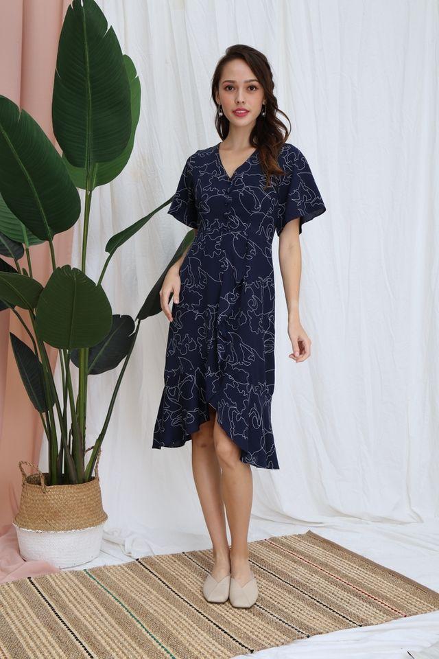 Zelie Abstract Petal Hem Midi Dress in Navy