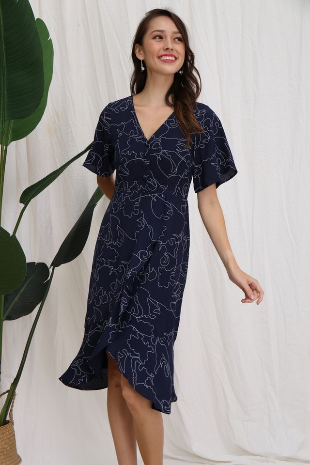 Zelie Abstract Petal Hem Midi Dress in Navy