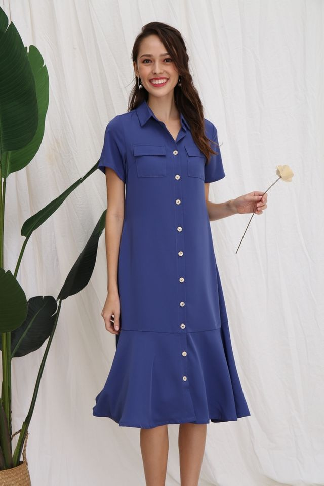 Nicolle Button Shirt Dropwaist Dress in Blue