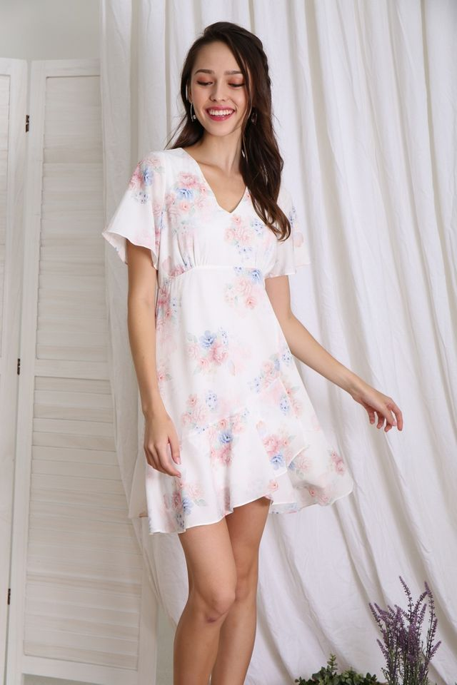 Romane Floral Empire Ruffles Dress in White