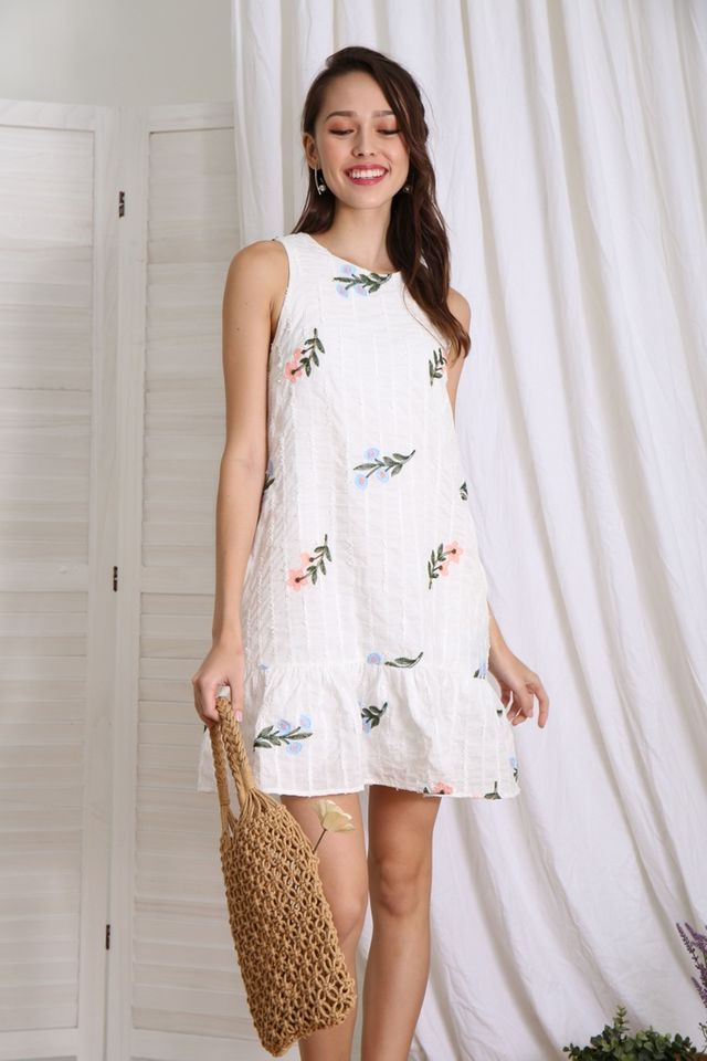 Nelda Floral Embroidered Dropwaist Dress in White