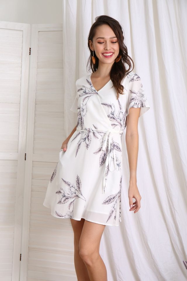 Karee Floral Faux Wrap Dress in White