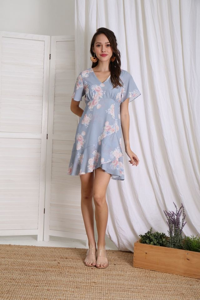 Romane Floral Empire Ruffles Dress in Blue