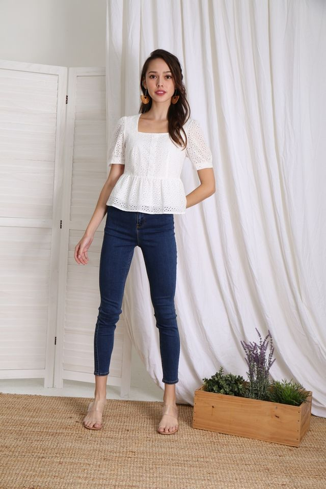 Delaney Button Babydoll Top in White