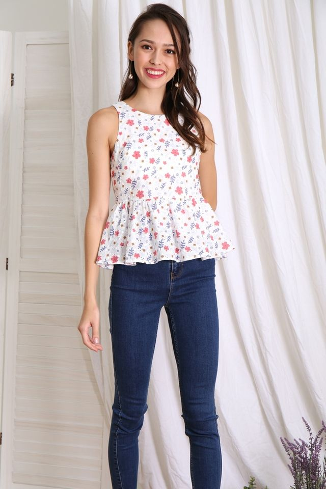 Danica Floral Eyelet Babydoll Top in Red