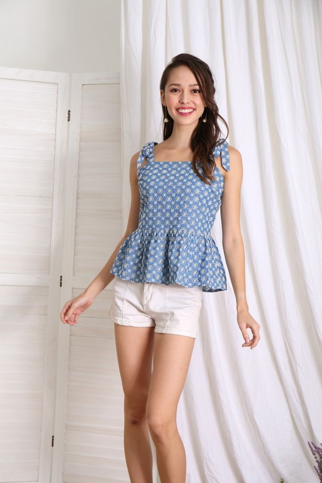 Mallina Ribbon Eyelet Babydoll Top in Denim Blue