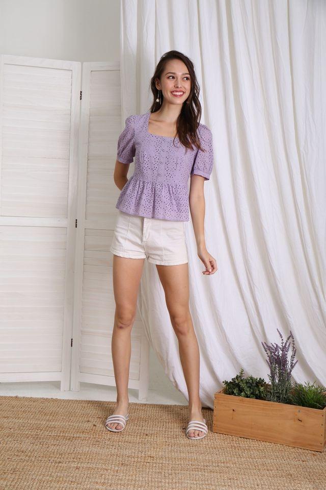 Delaney Button Babydoll Top in Lilac