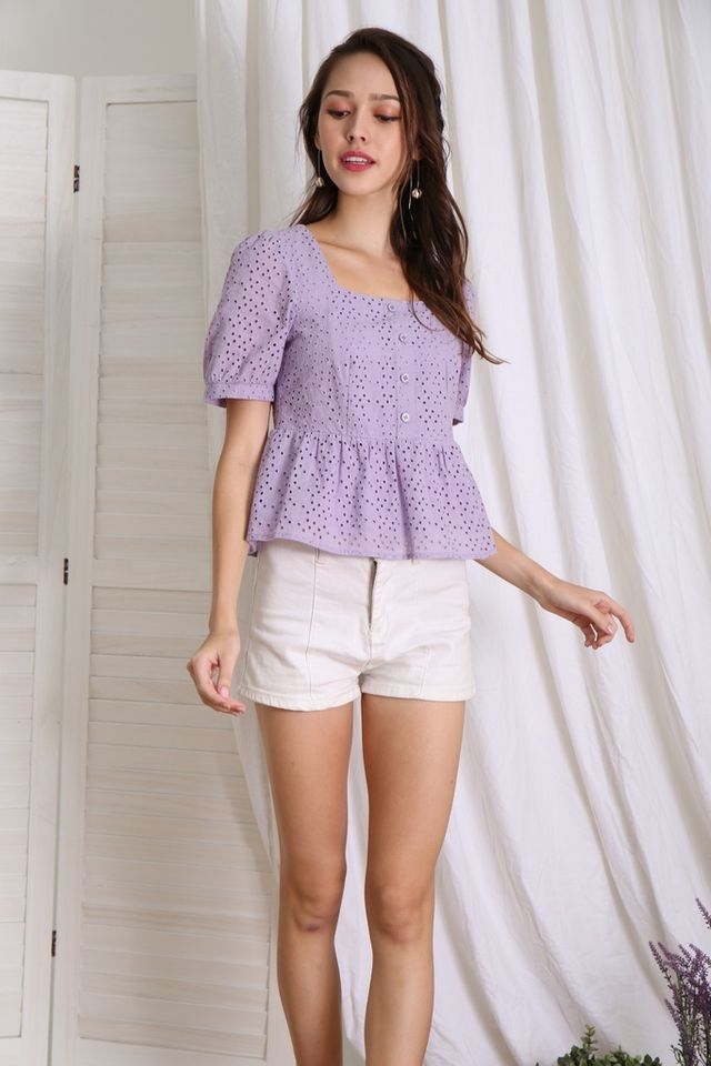 *BACKORDER* Delaney Button Babydoll Top in Lilac