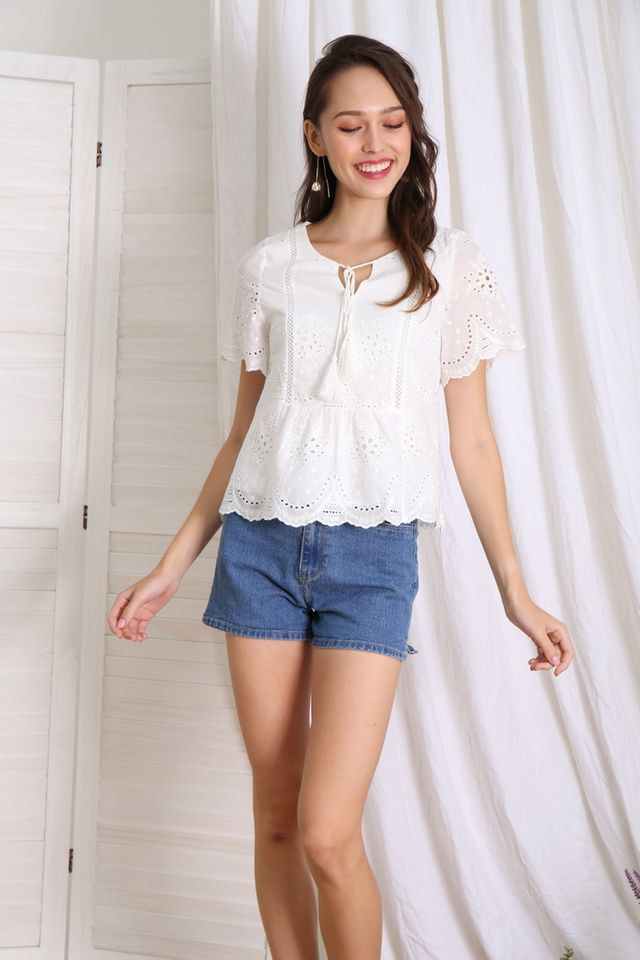 Liana Bohemian Eyelet Top in White