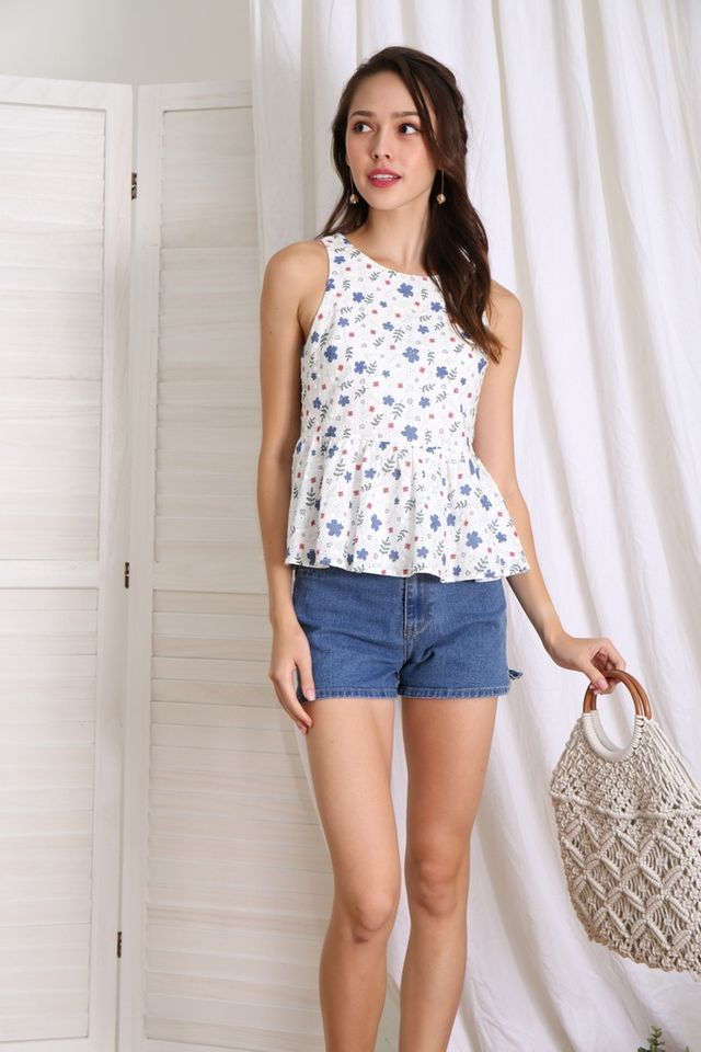 Danica Floral Eyelet Babydoll Top in Blue