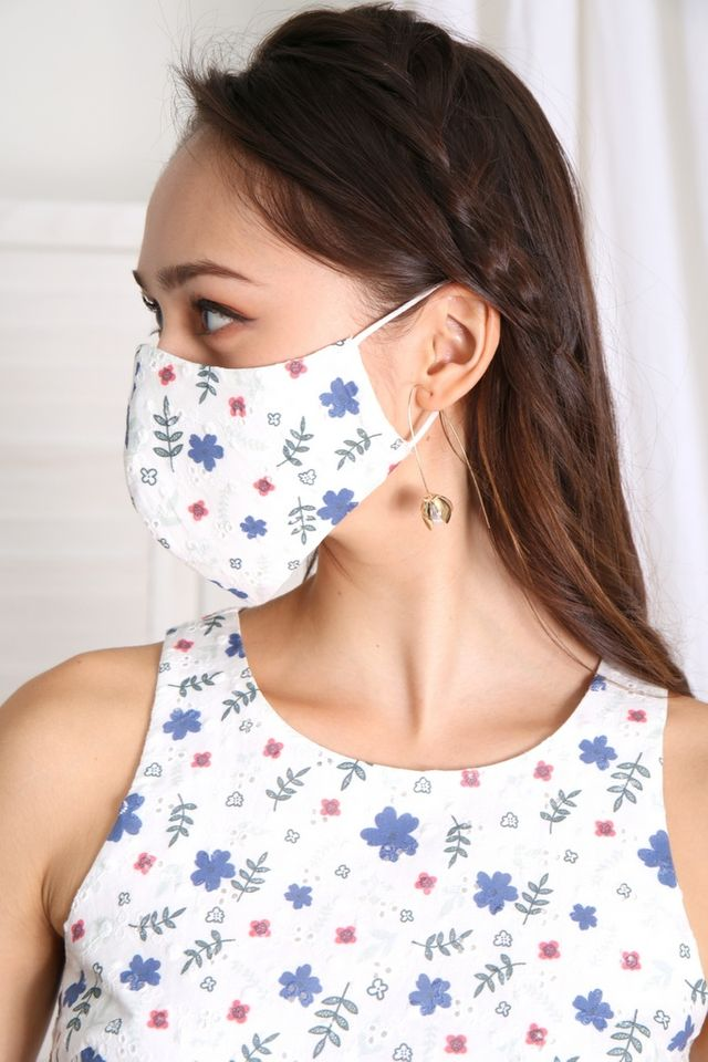 TSW Floral Eyelet Mask in Blue