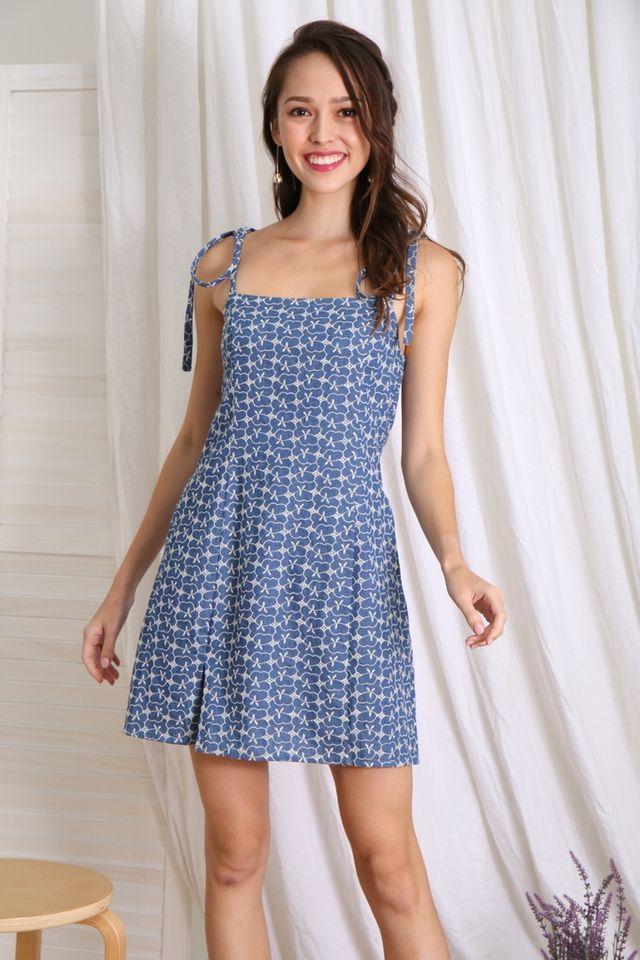 Armelle Ribbon Eyelet Dress in Denim Blue