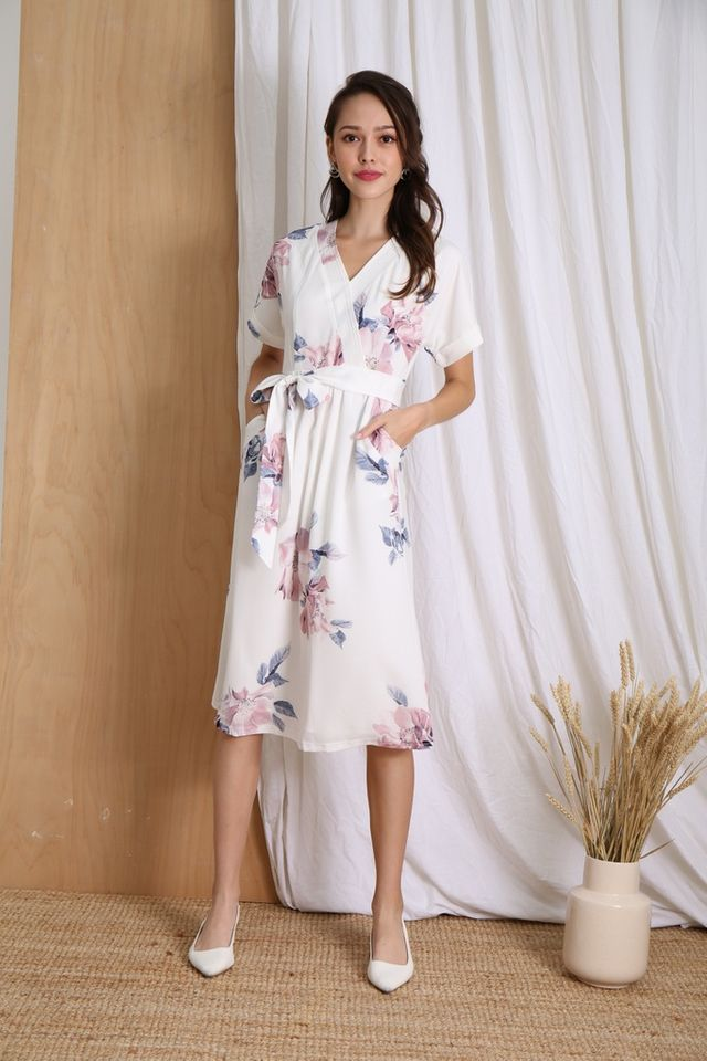 Rachel Floral Kimono Midi Dress in White