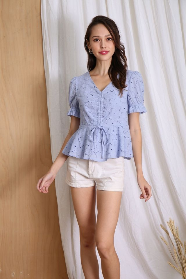 Eliza Eyelet Scrunch Babydoll Top in Powder Blue