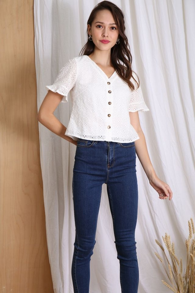 Jayla Eyelet Ruffles Button Top in White