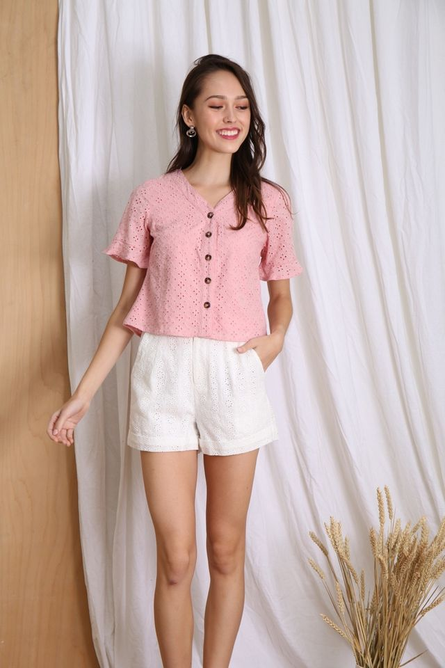 Jayla Eyelet Ruffles Button Top in Pink